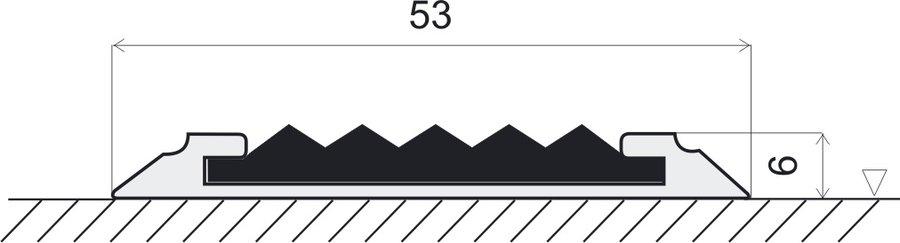 Žlutá hliníková schodová lišta s protiskluzovým páskem Antislip, FLOMAT - délka 200 cm, šířka 5,3 cm a výška 0,6 cm