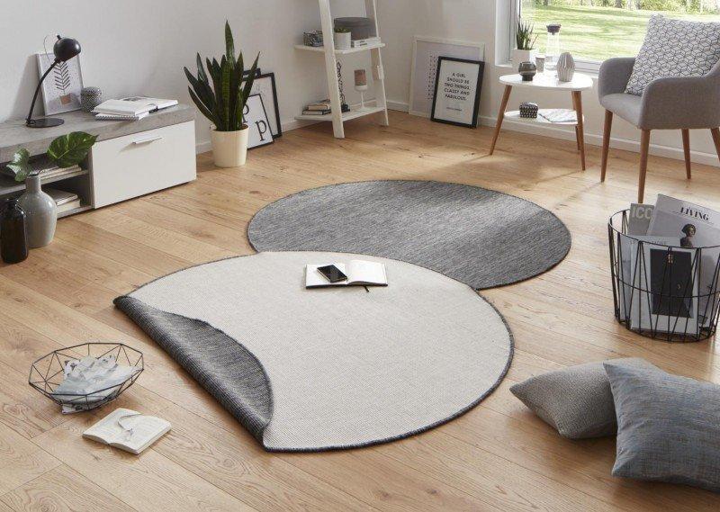 Béžový kusový oboustranný kulatý koberec Twin-Wendeteppiche