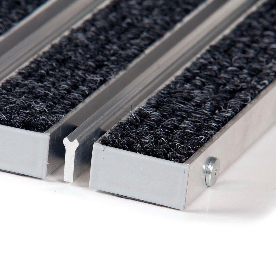 Textilní hliníková kartáčová vnitřní vstupní rohož Alu Wide, FLOMAT - výška 2,2 cm