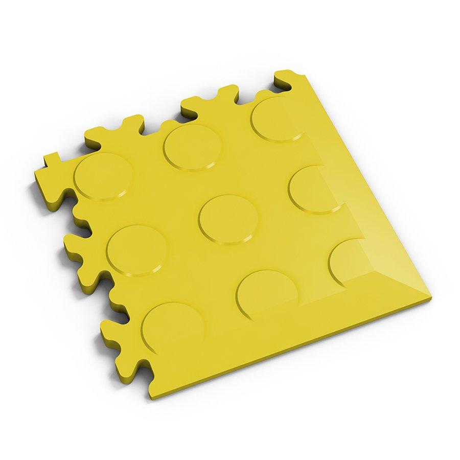 Žlutý vinylový plastový rohový nájezd 2046 (penízky), Fortelock - délka 14 cm, šířka 14 cm a výška 0,7 cm