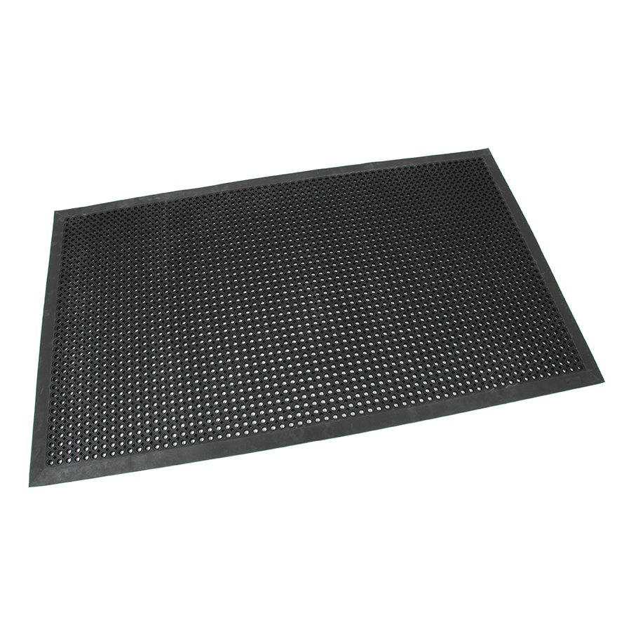 Černá gumová vstupní venkovní čistící rohož s obvodovou hranou Octomat Mini - délka 90 cm, šířka 150 cm a výška 1,4 cm