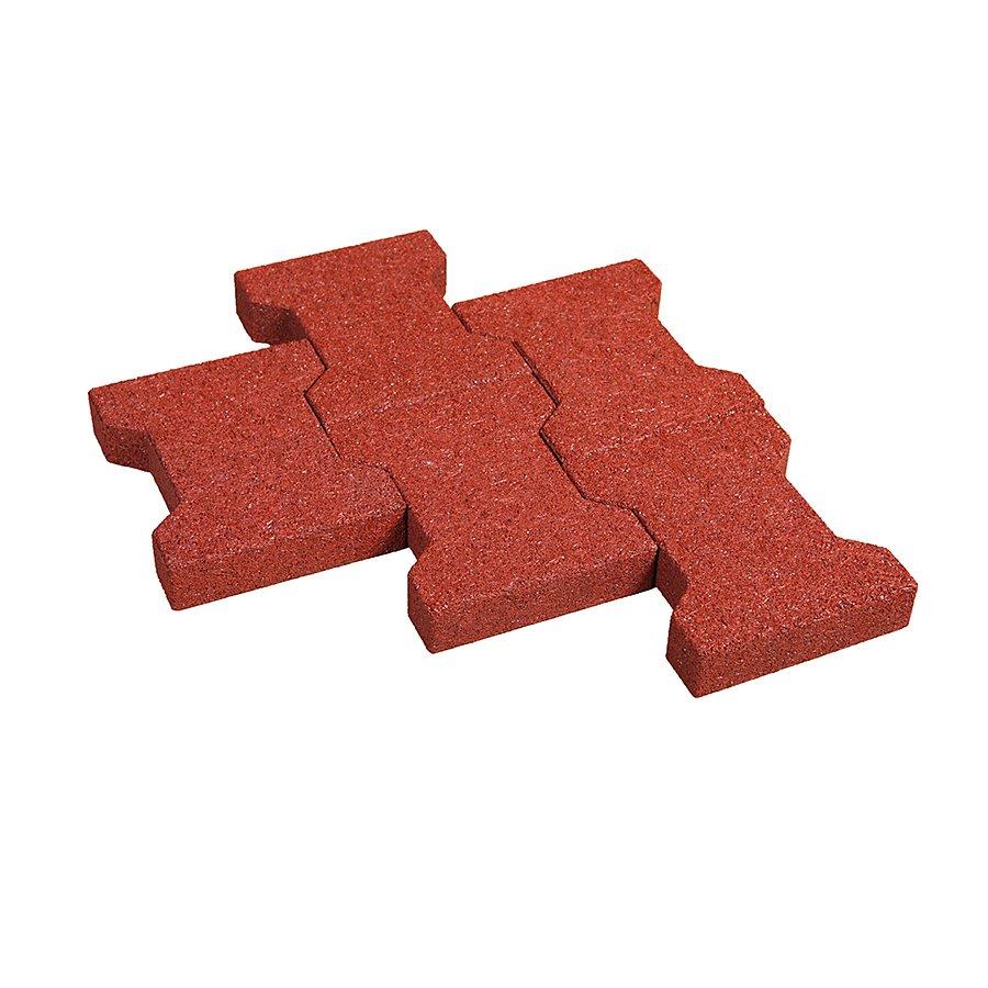Červená gumová zámková dlažba KA1 - délka 20 cm, šířka 16,5 cm a výška 4,3 cm