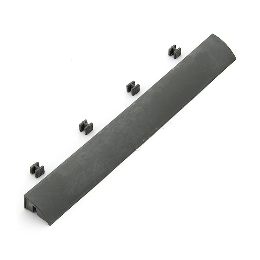 Šedý plastový nájezd pro terasové dlaždice Linea Easy - délka 39 cm, šířka 4,5 cm a výška 2,5 cm