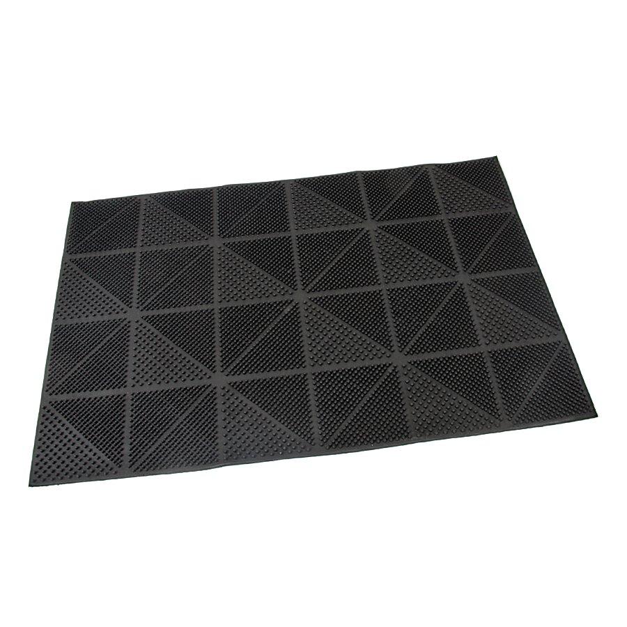 Gumová čistící kartáčová venkovní vstupní rohož Triangles, FLOMAT - délka 40 cm, šířka 60 cm a výška 0,7 cm