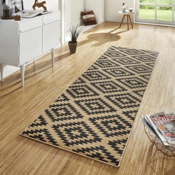 Hnědý kusový moderní koberec běhoun Basic - šířka 80 cm