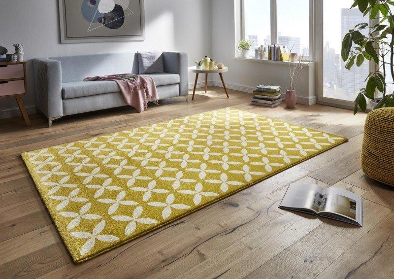 Žlutý kusový moderní koberec Tifany - délka 150 cm a šířka 80 cm