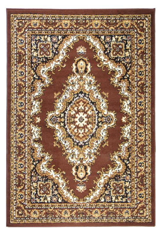 Hnědý kusový orientální koberec Teheran-T