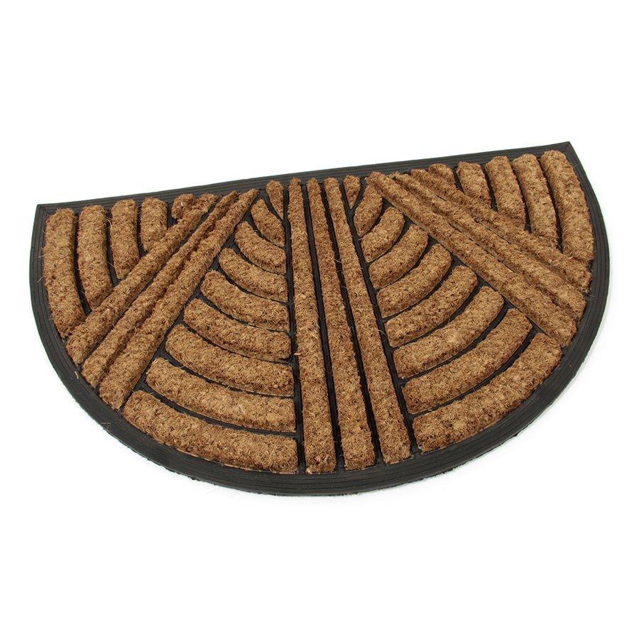 Kokosová čistící venkovní vstupní půlkruhová rohož Stripes - Lines, FLOMAT - délka 45 cm, šířka 75 cm a výška 2,2 cm