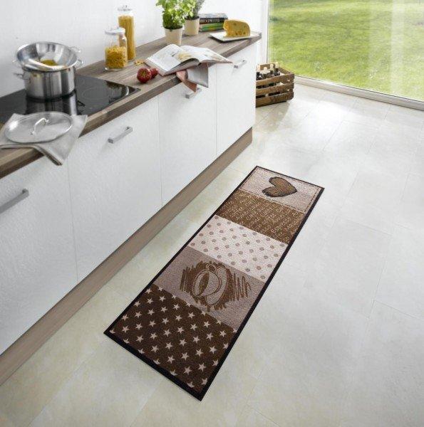 Hnědá moderní kusová kuchyňská předložka Cook & Clean - délka 150 cm a šířka 50 cm