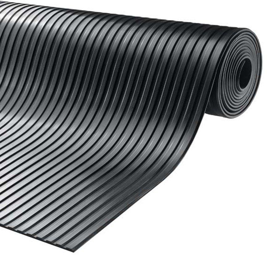 Černá průmyslová protiskluzová podlahová guma Gamma, FLOMA - délka 10 m, šířka 100 cm a výška 0,6 cm