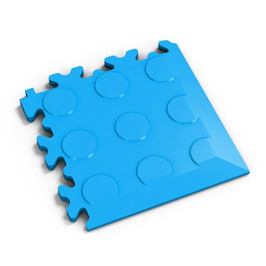 Modrý plastový vinylový rohový nájezd 2046 (penízky), Fortelock - délka 14 cm, šířka 14 cm a výška 0,7 cm