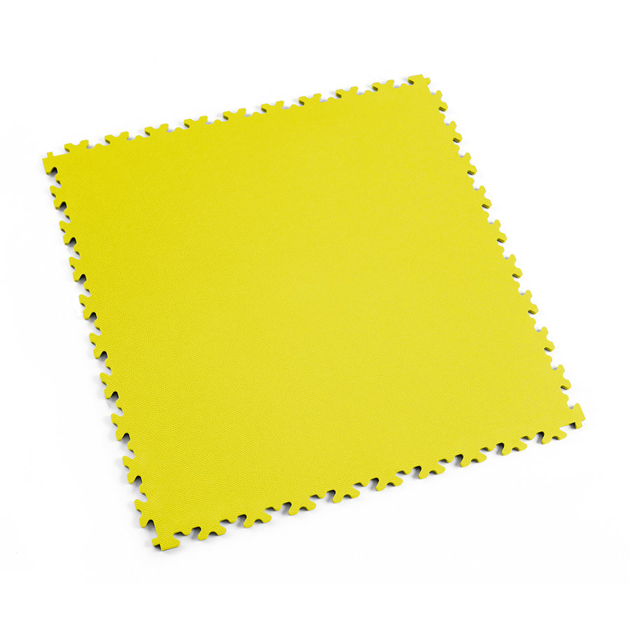 Žlutá vinylová plastová zátěžová dlaždice Industry 2020 (kůže), Fortelock - délka 51 cm, šířka 51 cm a výška 0,7 cm