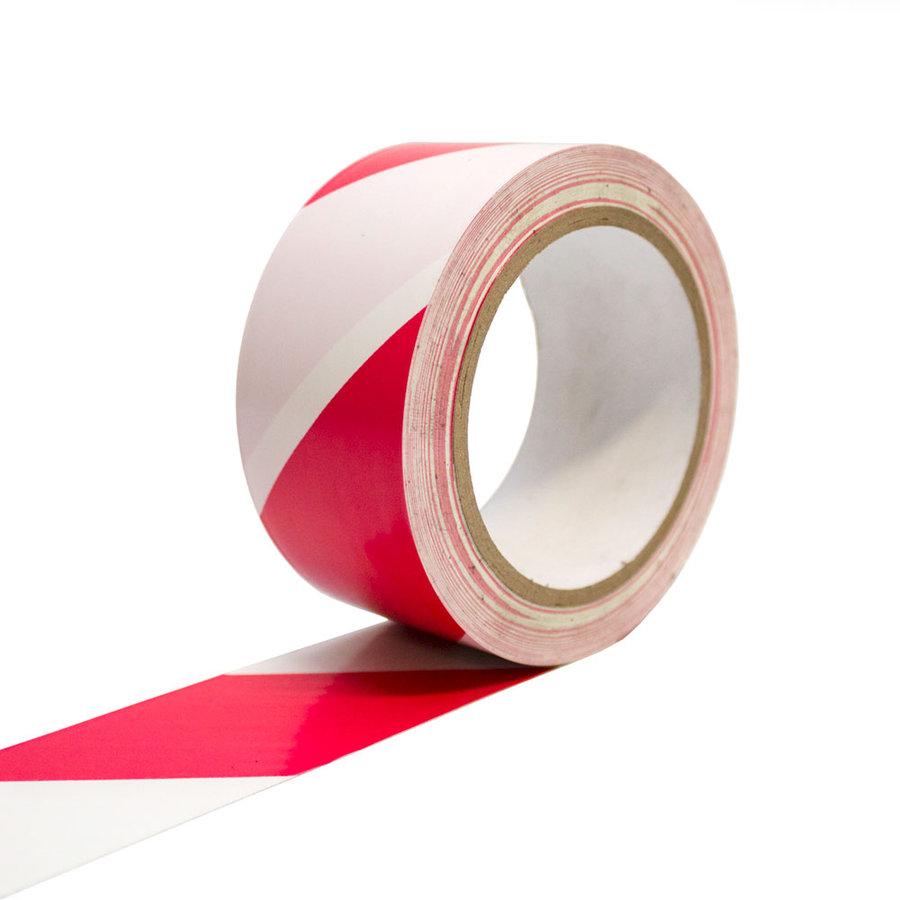 Bílo-červená vyznačovací podlahová páska - 33 m x 5 cm (80000292)