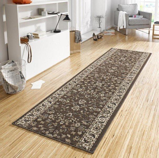 Hnědý moderní kusový koberec běhoun Basic - délka 400 cm a šířka 80 cm