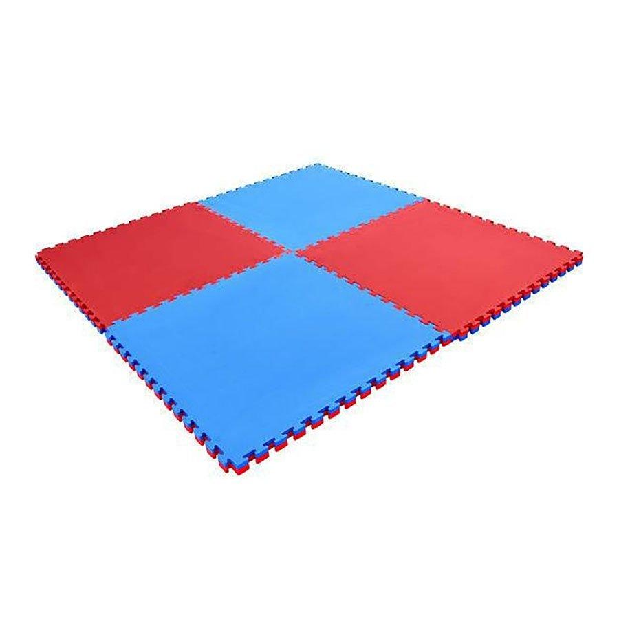 Červeno-modrá modulární pěnová oboustranná podložka - délka 100 cm, šířka 100 cm a výška 3 cm