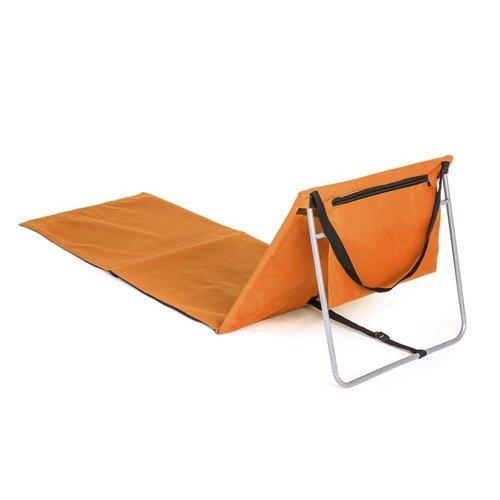 Oranžové skládací plážové lehátko s ocelovou konstrukcí - délka 150 cm a šířka 54 cm