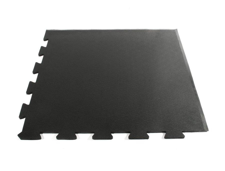 Černá gumová fitness rohová modulární podlaha Sport Tile - délka 61 cm, šířka 61 cm a výška 1 cm