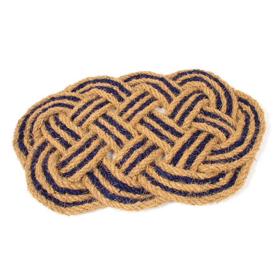 Kokosová vstupní venkovní čistící rohož Jumbo Oval Blue, FLOMAT - délka 45 cm, šířka 75 cm a výška 3,5 cm