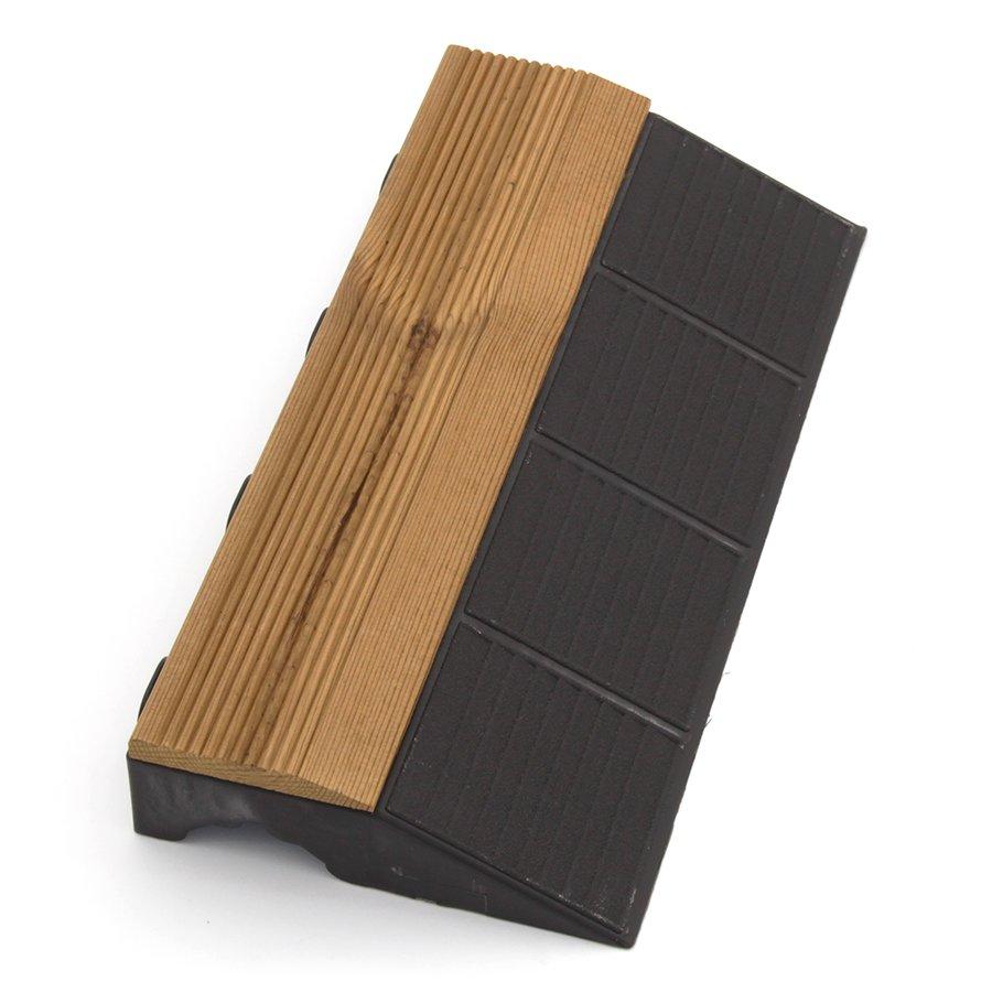 """Dřevěný nájezd """"samec"""" pro terasovou dlažbu Linea Combi-Wood - 40 x 20,5 x 6,5 cm"""