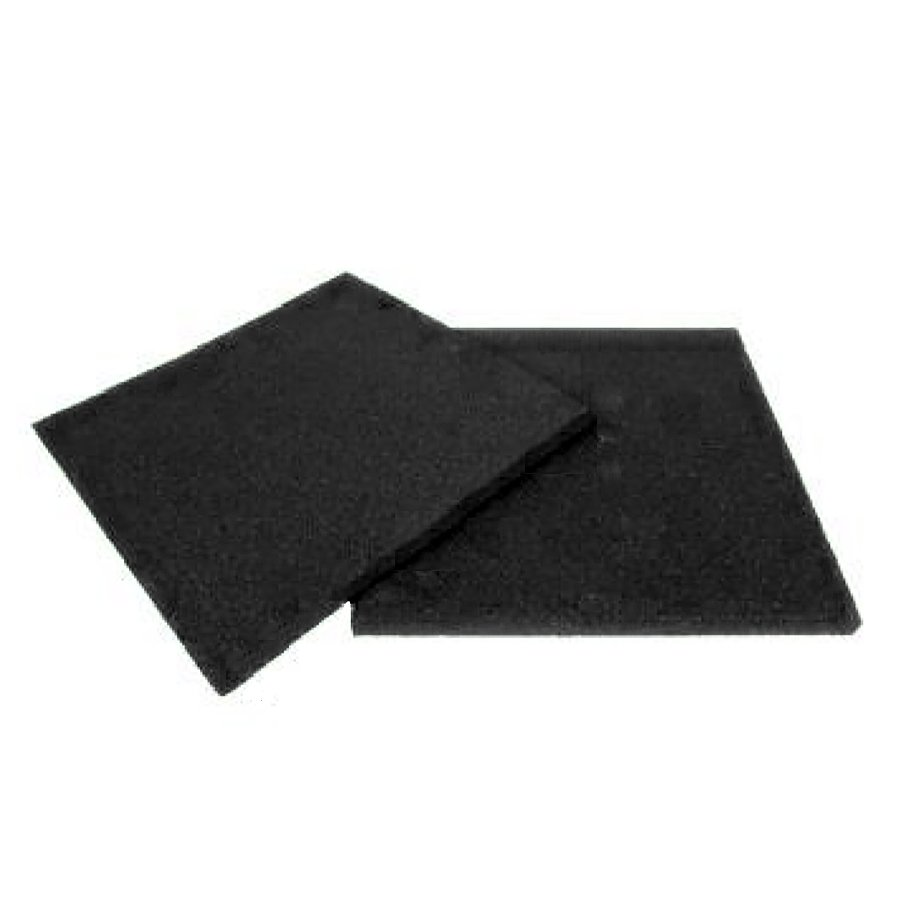 Černá gumová dopadová dlaždice (V20/R00) FLOMA - délka 50 cm, šířka 50 cm a výška 2 cm