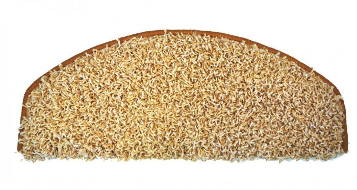 Béžový kobercový půlkruhový nášlap na schody Shaggy - délka 65 cm a šířka 28 cm