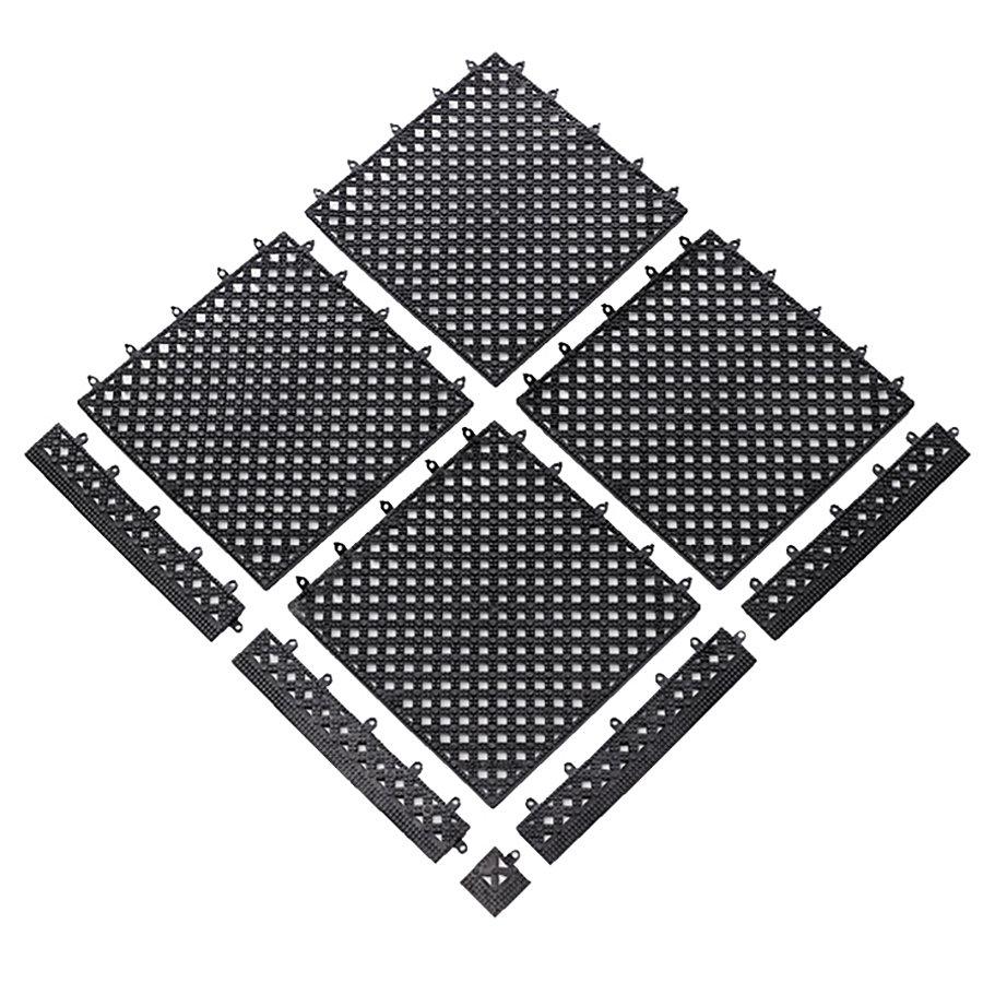 Černá bazénová modulární rohož (dlaždice) Lok-Tyle - délka 30,5 cm, šířka 30,5 cm a výška 1,43 cm