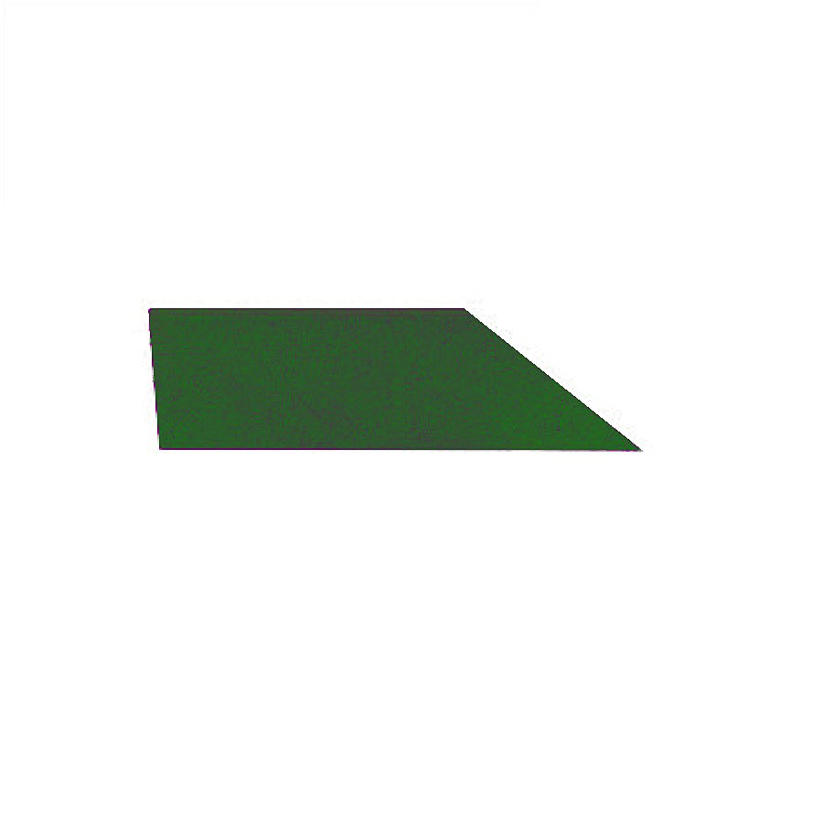 Zelený levý nájezd (roh) pro gumové dlaždice - délka 75 cm, šířka 30 cm a výška 2 cm