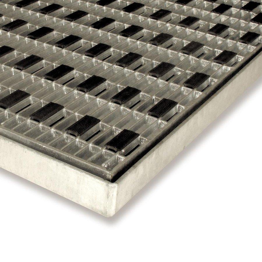 Kovová čistící venkovní vstupní rohož s rámem Grid, FLOMAT - délka 40 cm, šířka 60 cm a výška 3,2 cm