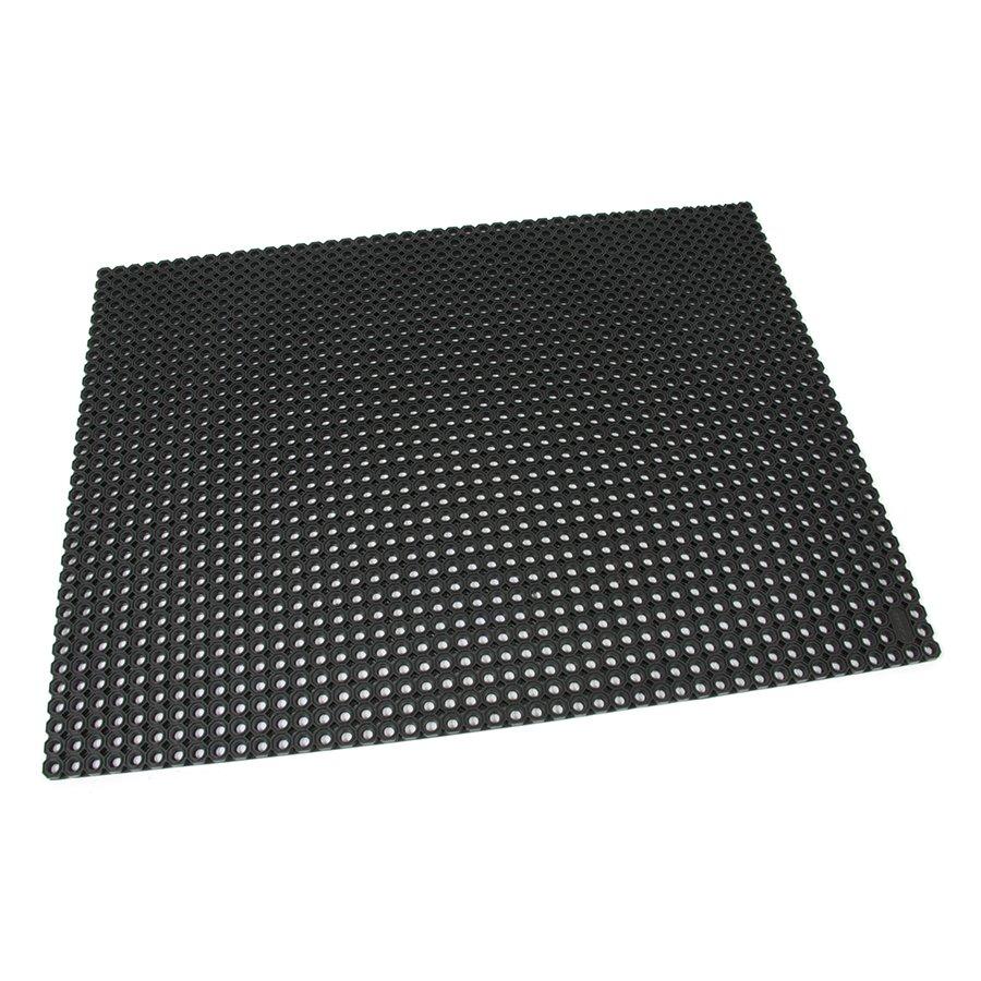 Černá gumová vstupní venkovní čistící rohož Octomat Mini - délka 100 cm, šířka 100 cm a výška 1,4 cm