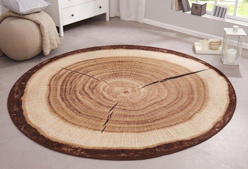 Hnědý moderní kusový kulatý koberec Bastia Special - průměr 100 cm