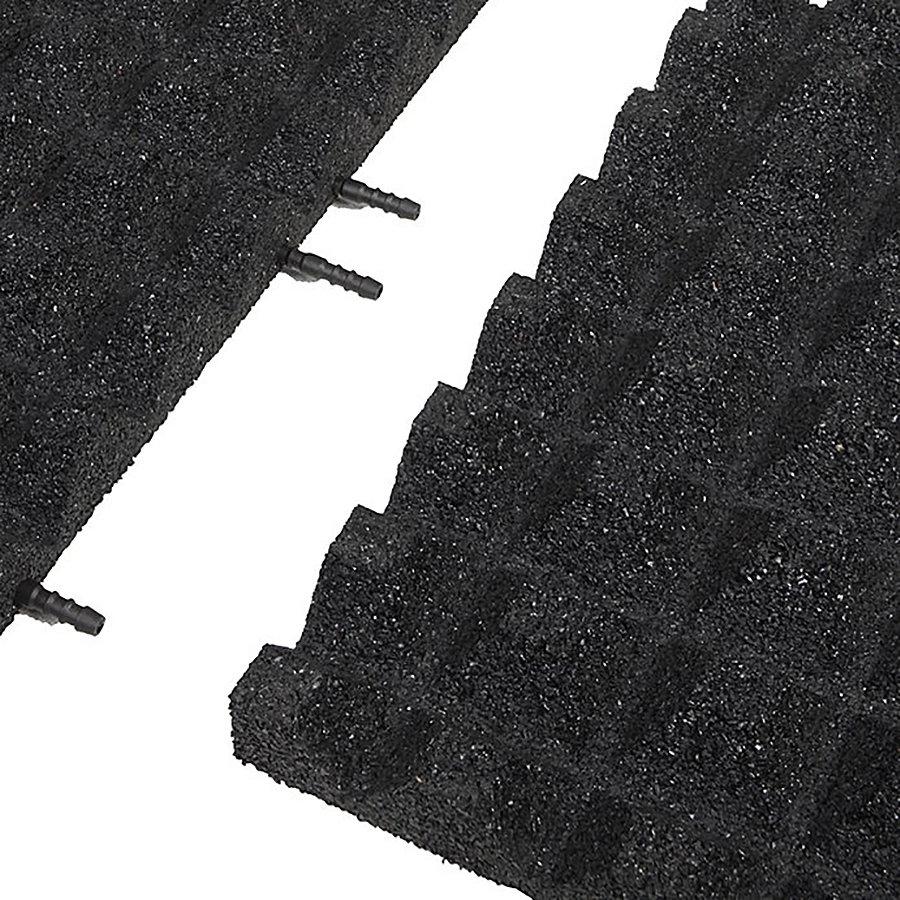 Černá gumová krajová dopadová dlaždice (V45/R28) FLOMA - délka 50 cm, šířka 25 cm a výška 4,5 cm