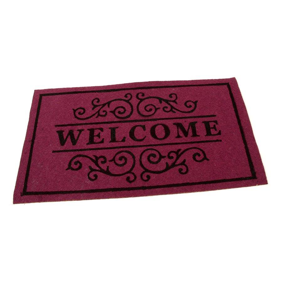 Vínová textilní vstupní čistící vnitřní rohož Welcome - Deco, FLOMA - délka 33 cm, šířka 58 cm a výška 0,3 cm