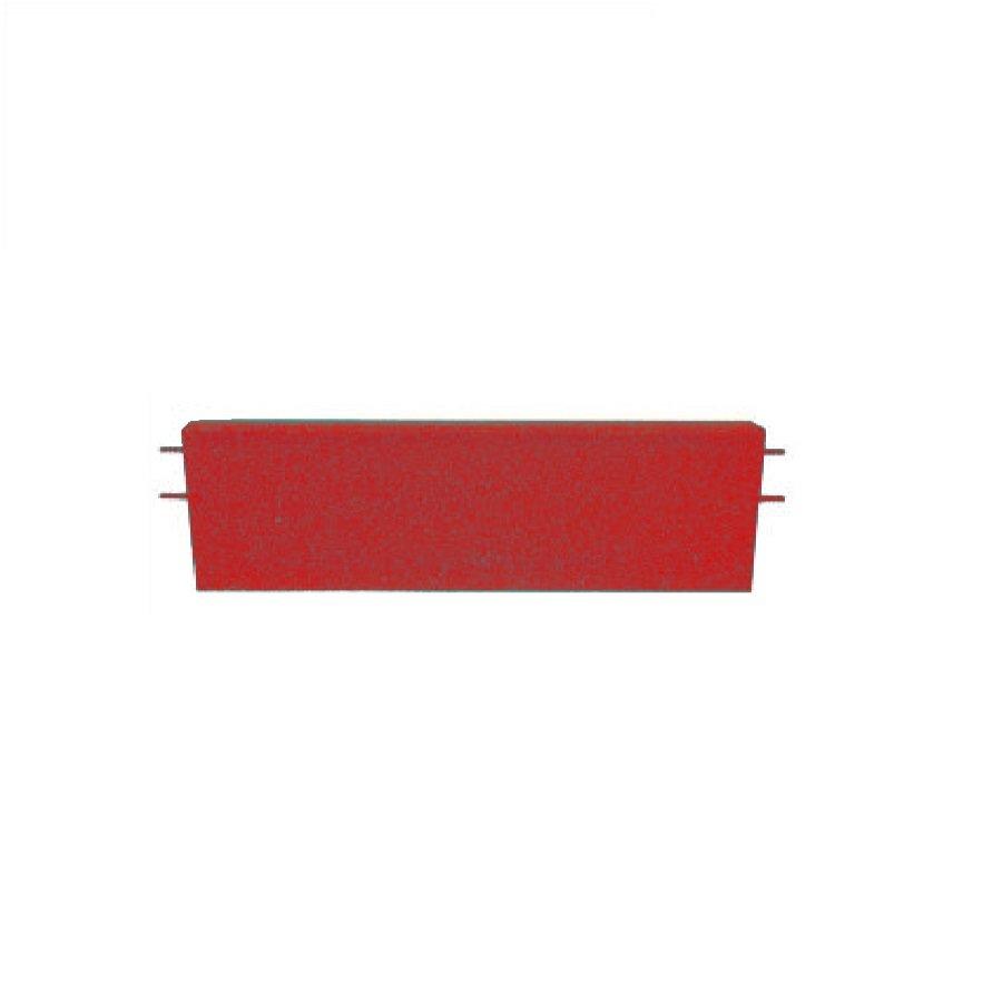 Červený rovný nájezd pro gumové dlaždice - délka 75 cm, šířka 30 cm a výška 6,5 cm