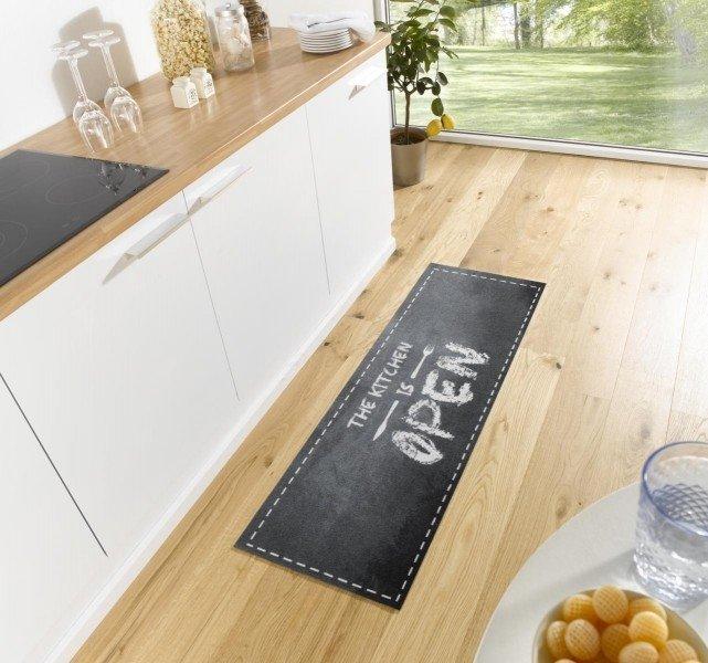 Černá kuchyňská moderní kusová předložka Cook & Clean - délka 150 cm a šířka 50 cm