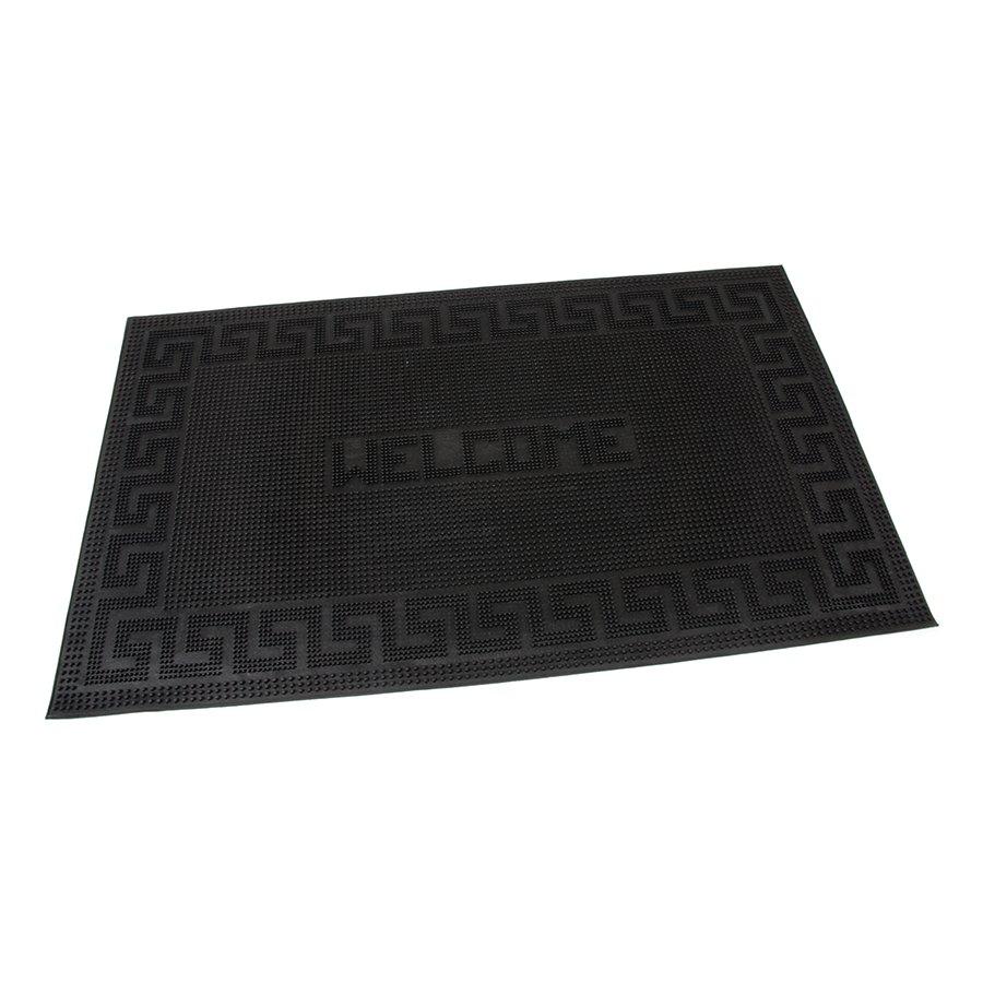 Gumová vstupní venkovní kartáčová čistící rohož Welcome - Deco, FLOMAT - délka 75 cm, šířka 45 cm a výška 0,6 cm