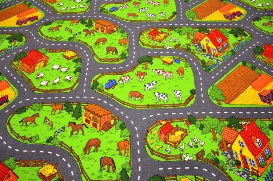 Různobarevný hrací kusový dětský koberec Farma 2 - délka 120 cm a šířka 80 cm