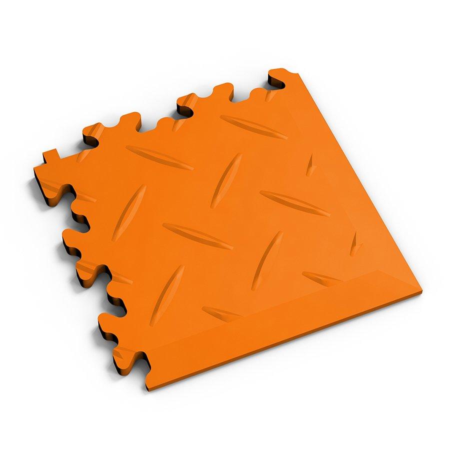 Oranžový plastový vinylový rohový nájezd 2016 (diamant), Fortelock - délka 14 cm, šířka 14 cm a výška 0,7 cm