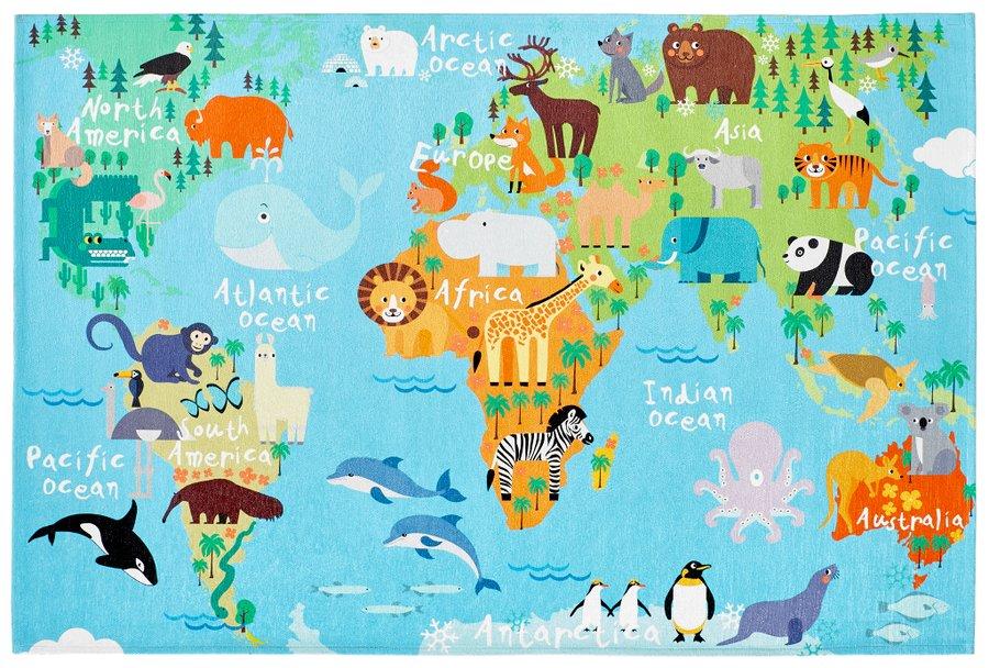 Různobarevný hrací dětský kusový koberec na koberec Torino Kids - délka 120 cm a šířka 80 cm