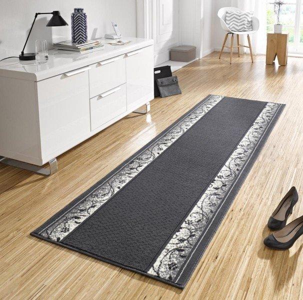 Černý kusový moderní koberec běhoun Basic - šířka 80 cm