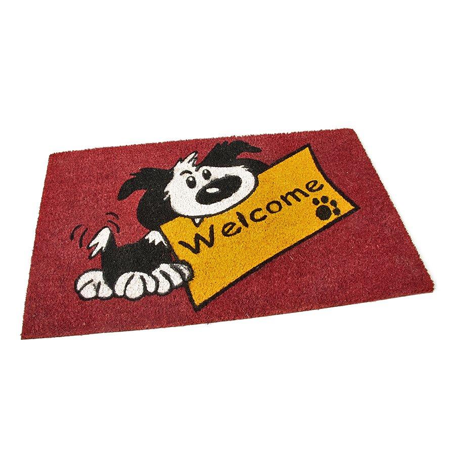 Kokosová čistící venkovní vstupní rohož Welcome - Dog, FLOMAT - délka 75 cm, šířka 45 cm a výška 1,7 cm