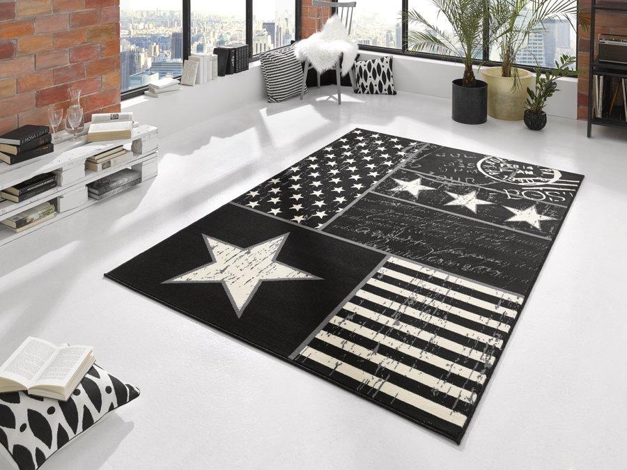 Černý moderní kusový koberec City Mix - délka 200 cm a šířka 140 cm