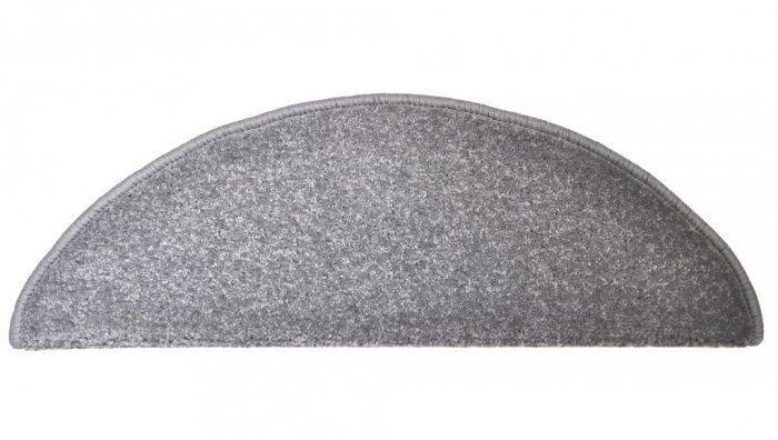 Šedý kobercový půlkruhový nášlap na schody Eton - délka 24 cm a šířka 65 cm