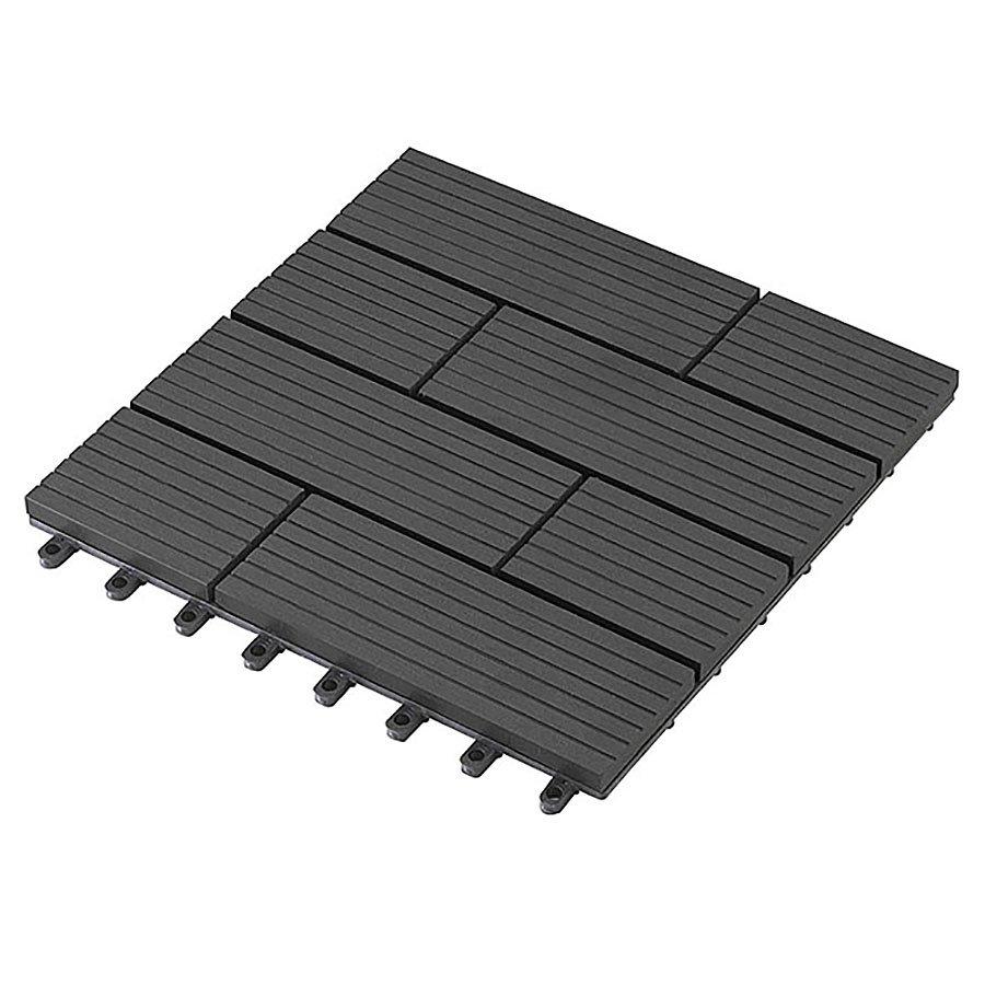 Černá dřevoplastová WPC terasová dlaždice Samoa - délka 30 cm, šířka 30 cm a výška 2,3 cm