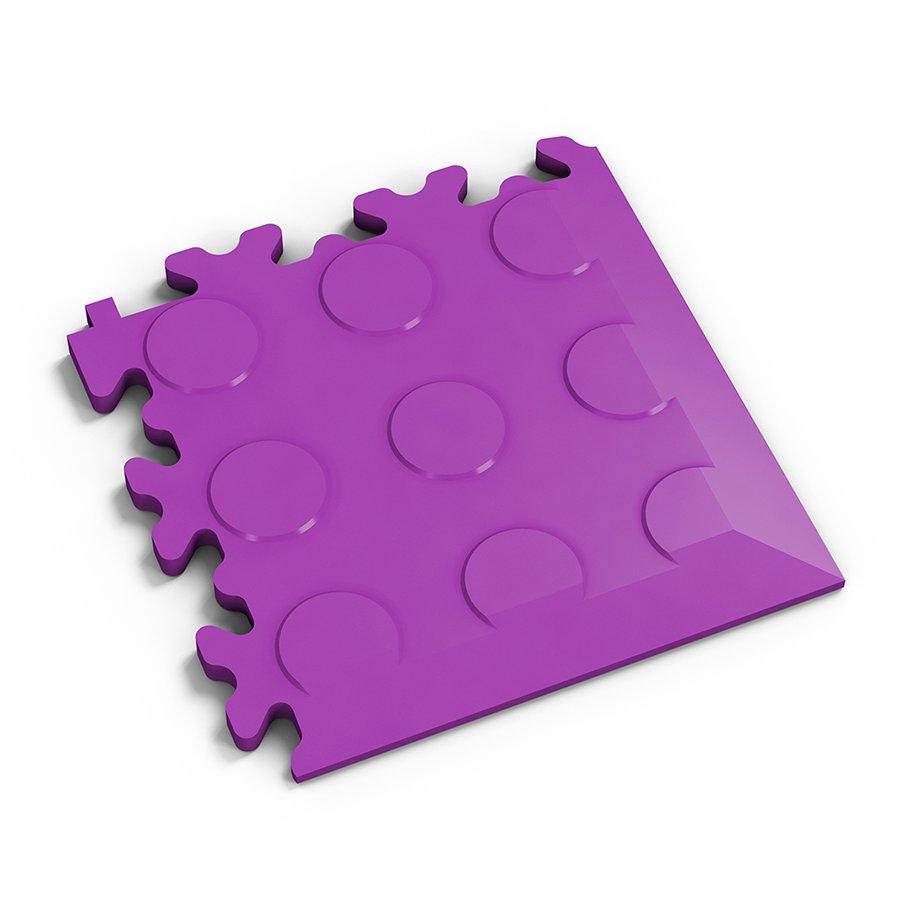 Fialový plastový vinylový rohový nájezd 2046 (penízky), Fortelock - délka 14 cm, šířka 14 cm a výška 0,7 cm