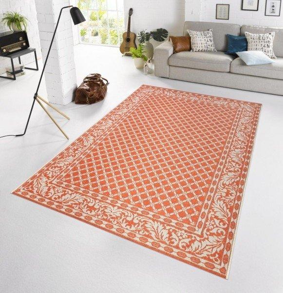 Oranžový kusový moderní koberec Botany
