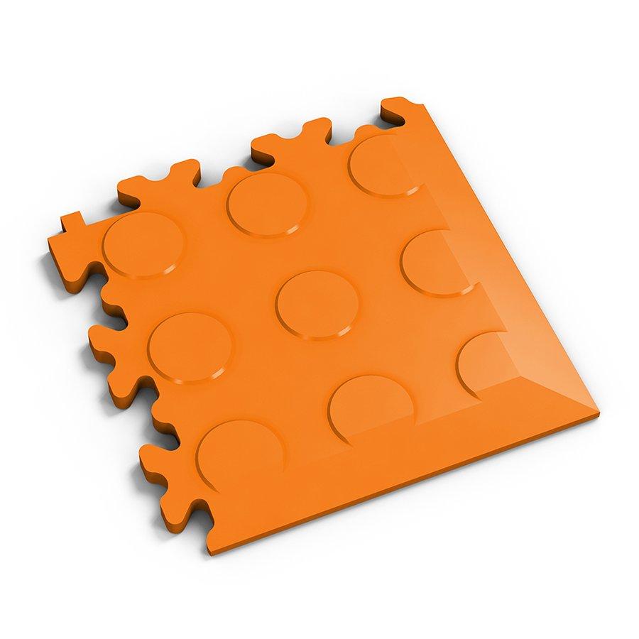 Oranžový plastový vinylový rohový nájezd 2046 (penízky), Fortelock - délka 14 cm, šířka 14 cm a výška 0,7 cm