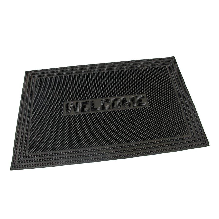 Gumová vstupní venkovní kartáčová čistící rohož Welcome - Rectangle, FLOMAT - délka 60 cm, šířka 40 cm a výška 0,7 cm