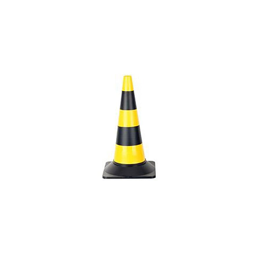 Černo-žlutý plastový (PE) výstražný kužel - šířka 29 cm a výška 30 cm