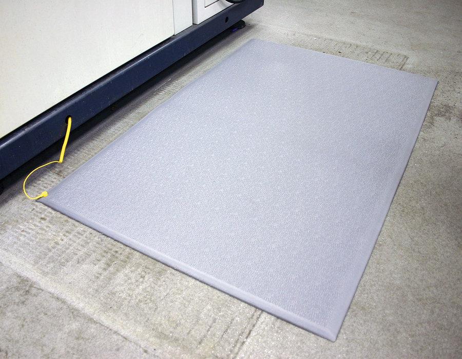 Šedá průmyslová protiúnavová ESD antistatická rohož - délka 150 cm, šířka 90 cm a výška 0,9 cm