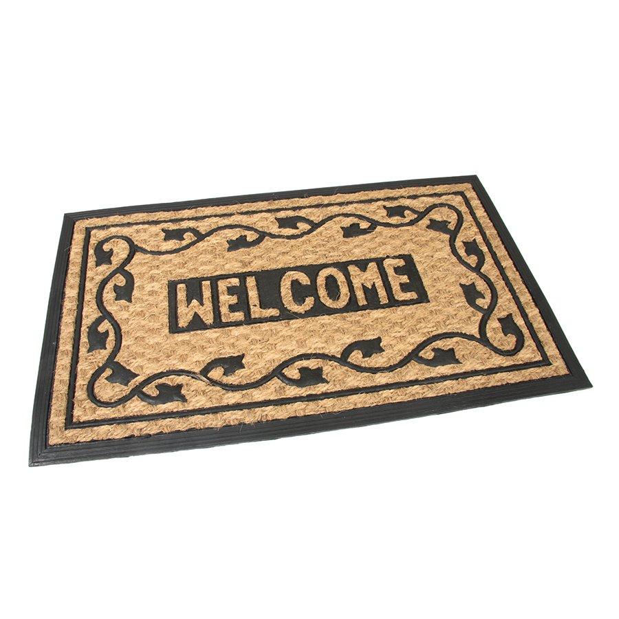 Kokosová čistící venkovní vstupní rohož Welcome - Deco, FLOMA - délka 45 cm, šířka 75 cm a výška 0,8 cm